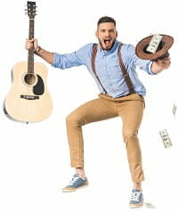 A musician holding his profits