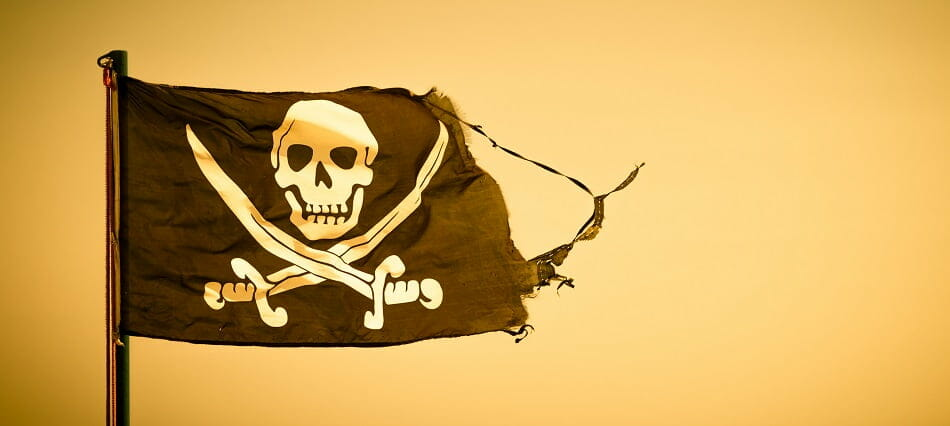 A flag representing online piracy