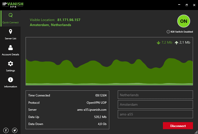 The IPVanish main window showing the download and upload speeds