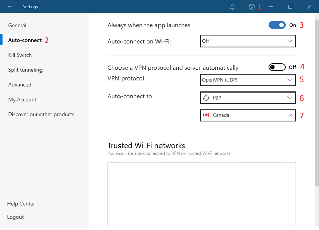 A screenshot showing the steps to turn the auto-connect feature on