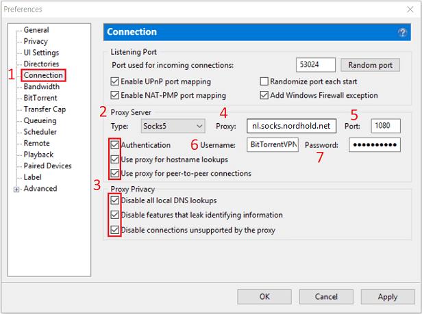 Configuration of NordVPN's proxy in uTorrent